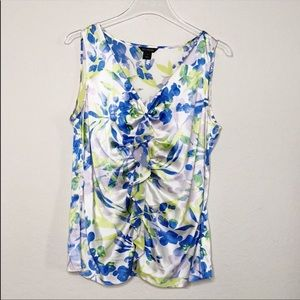 St. John Sleeveless Silk Ruffled Front Blouse